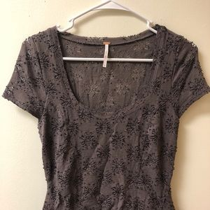 Free People Dresses - ⭐️Free People Gray Floral Tunic Dress Peplum Lace